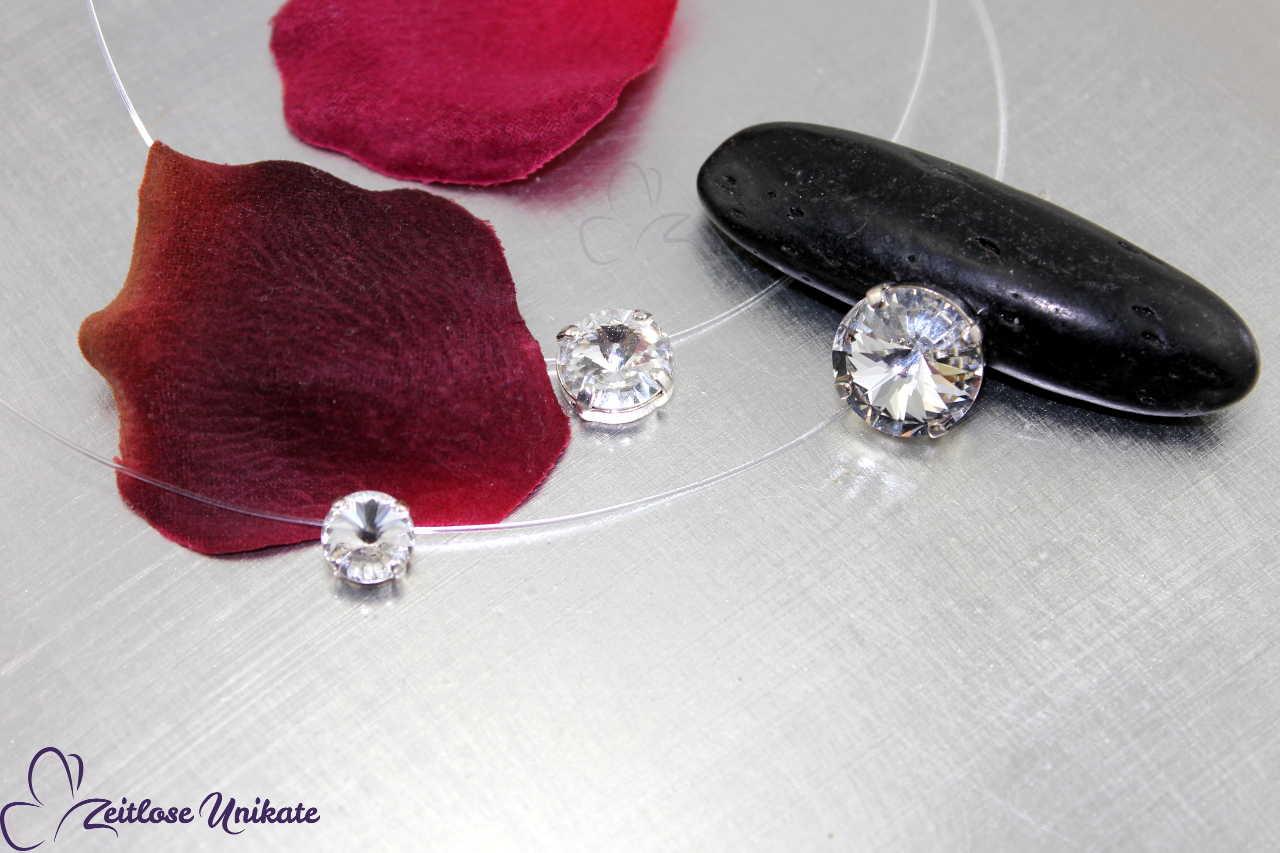 Funkelnder Kristall Kette, 3 Steingrößen