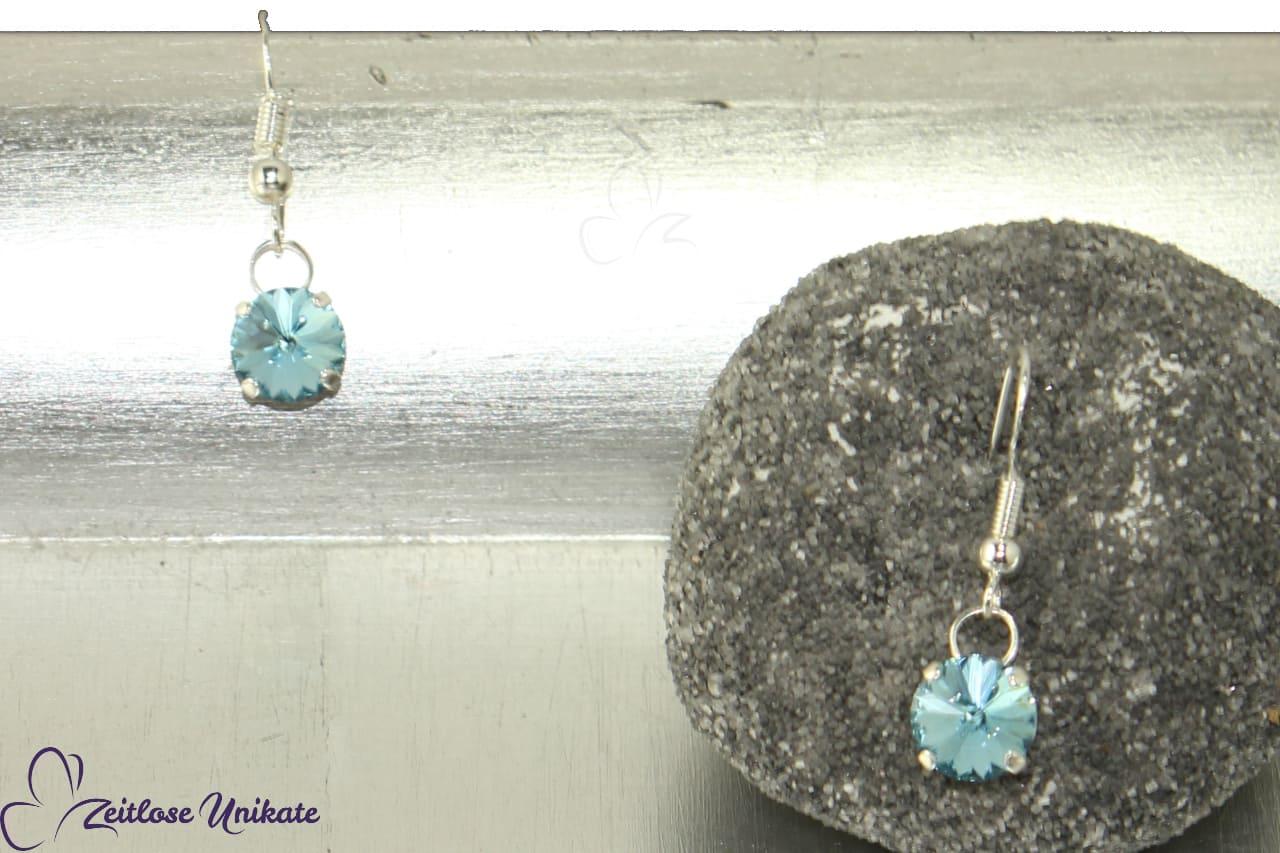 funkelnde Ohrringe, Kristallsteine hellblau / aqua