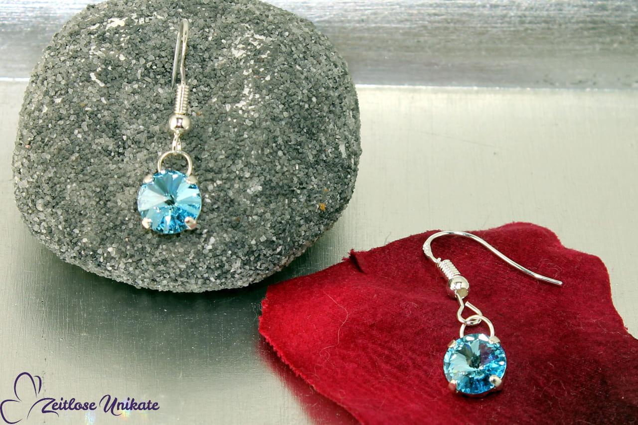 fliegender Stein Ohrringe aqua - herrlicher Blauton kurze Ohrhänger