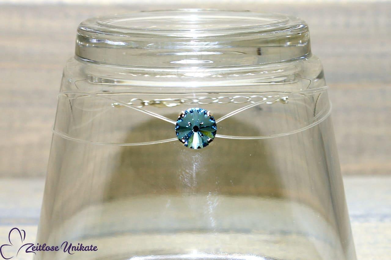 schwebender Stein Armband, aqua - hellblau - etwas Blaues