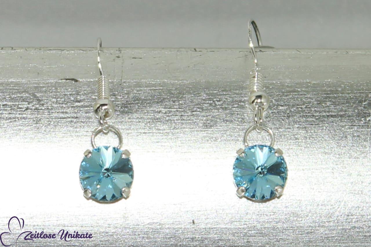 Ohrringe Kristallstein aqua - hellblau passend zur Nylonkette