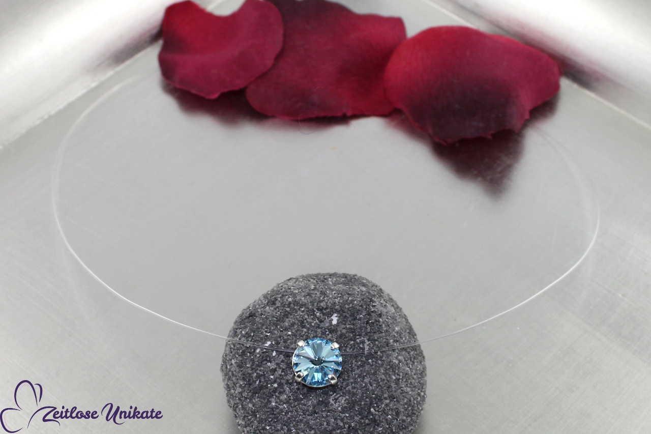 schwebender Stein aquamarine - hellblau