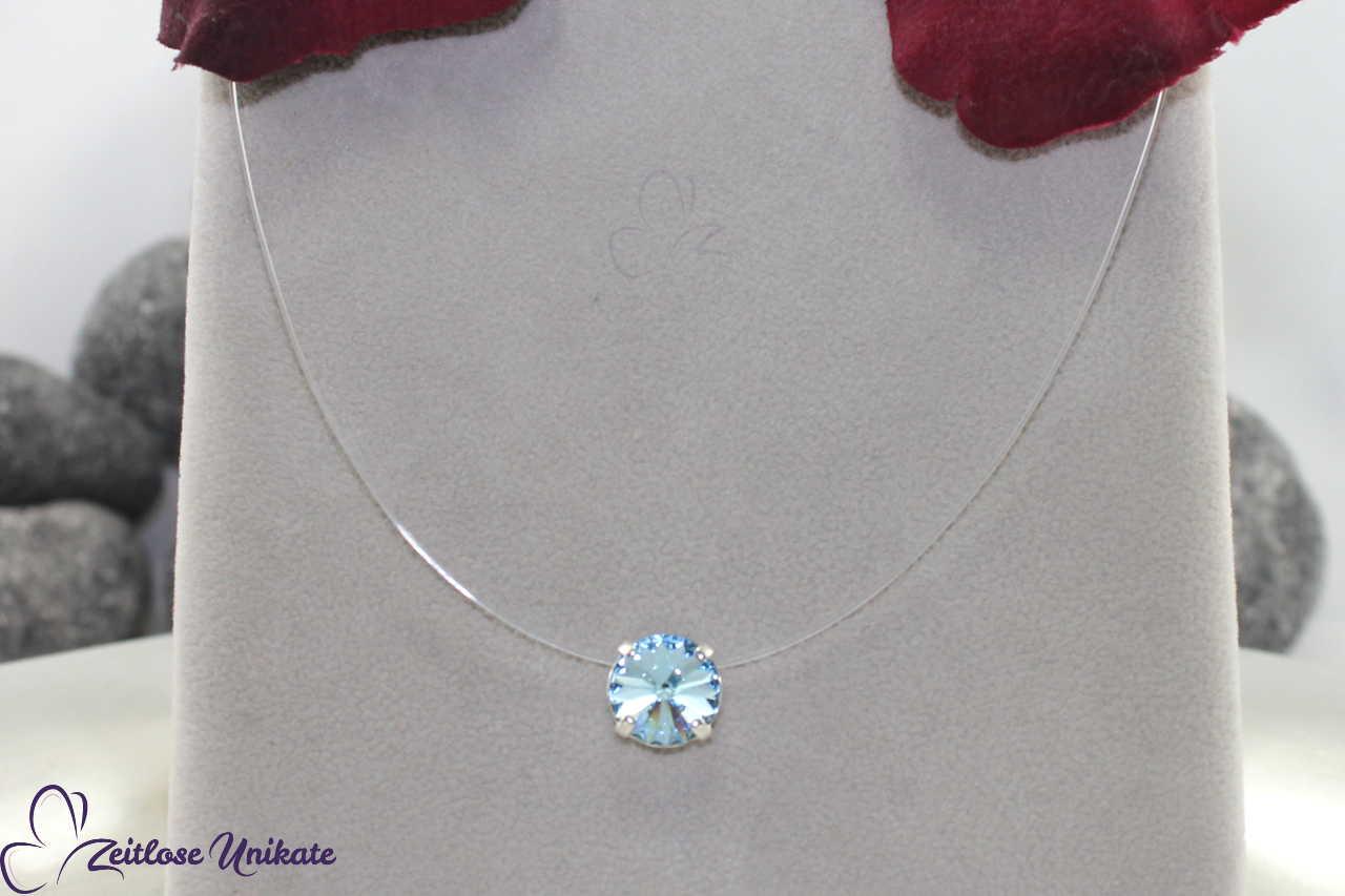 transparente Kette hellblau - aquamarine