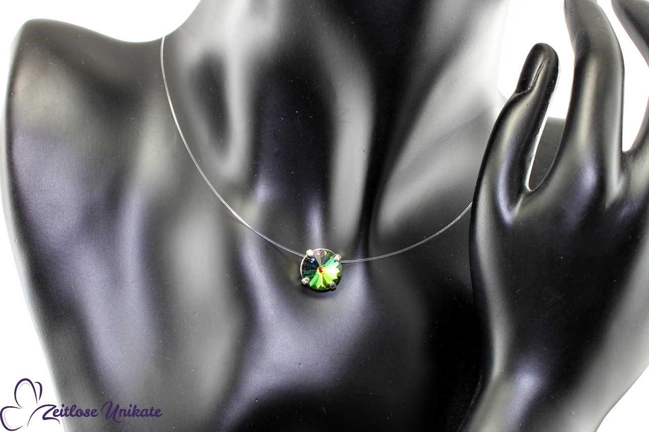 transparente Halskette changierend - bunt