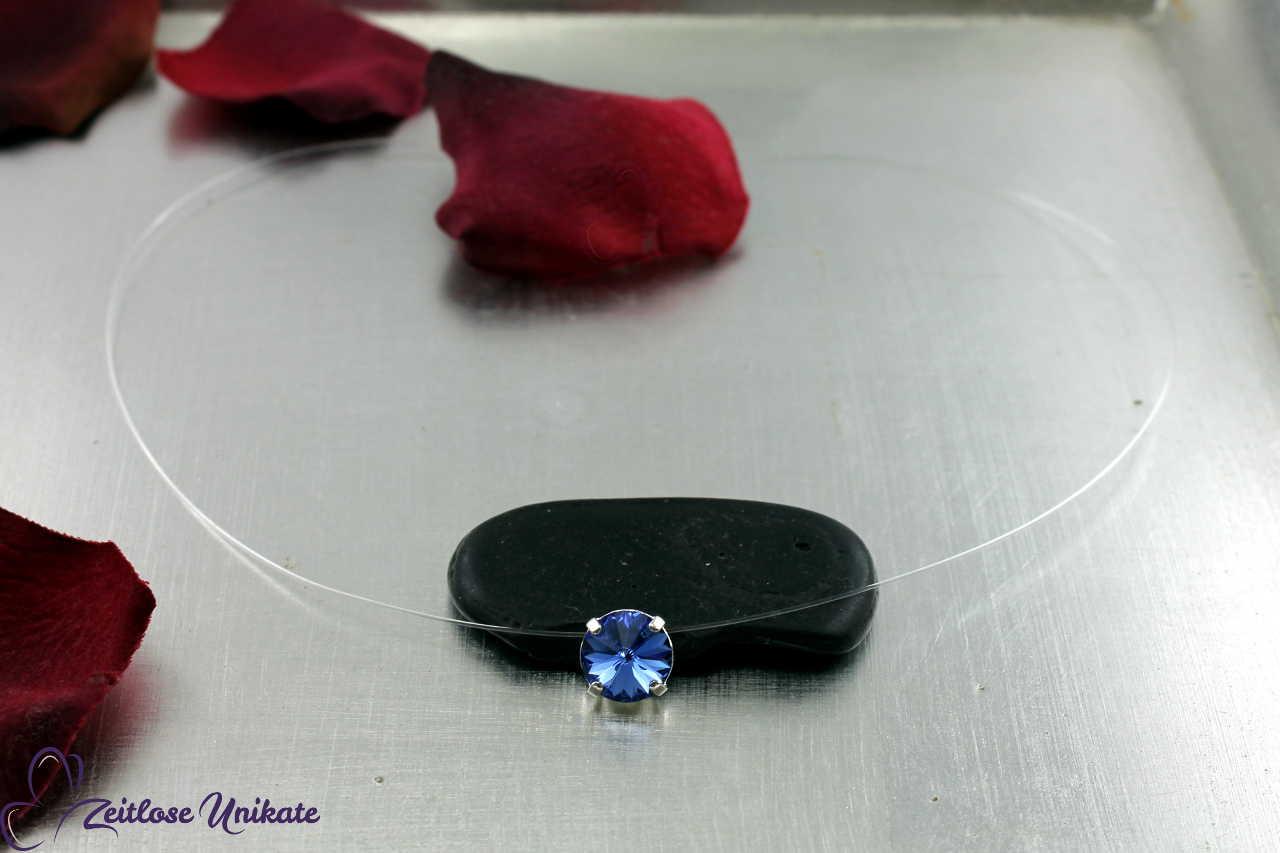 transparente Halskette blau - sapphire, weitere Farben möglich