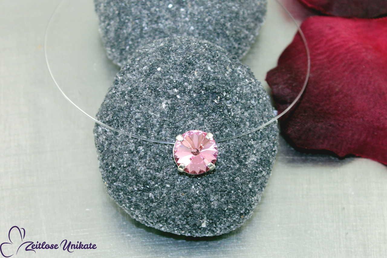 durchsichtige Kette rosa Stein