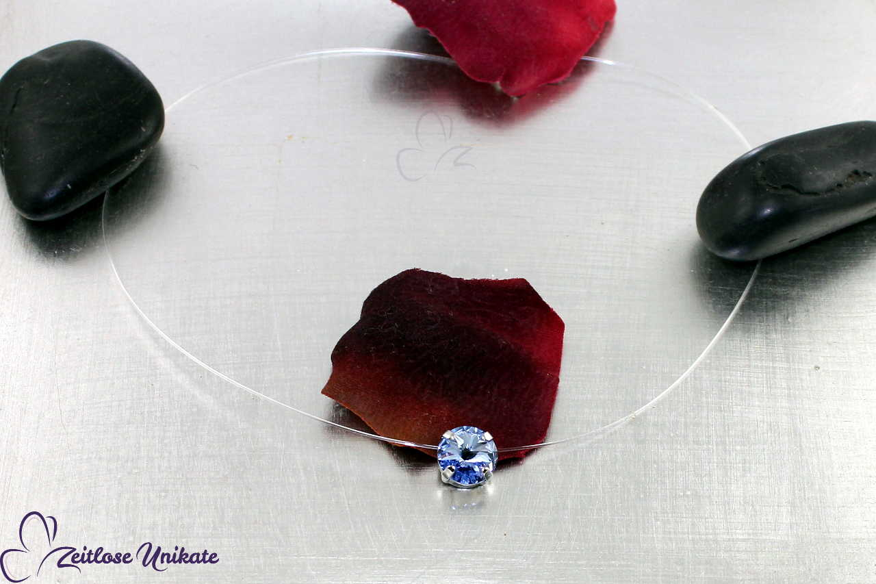 transparente Kette blau - light sapphire