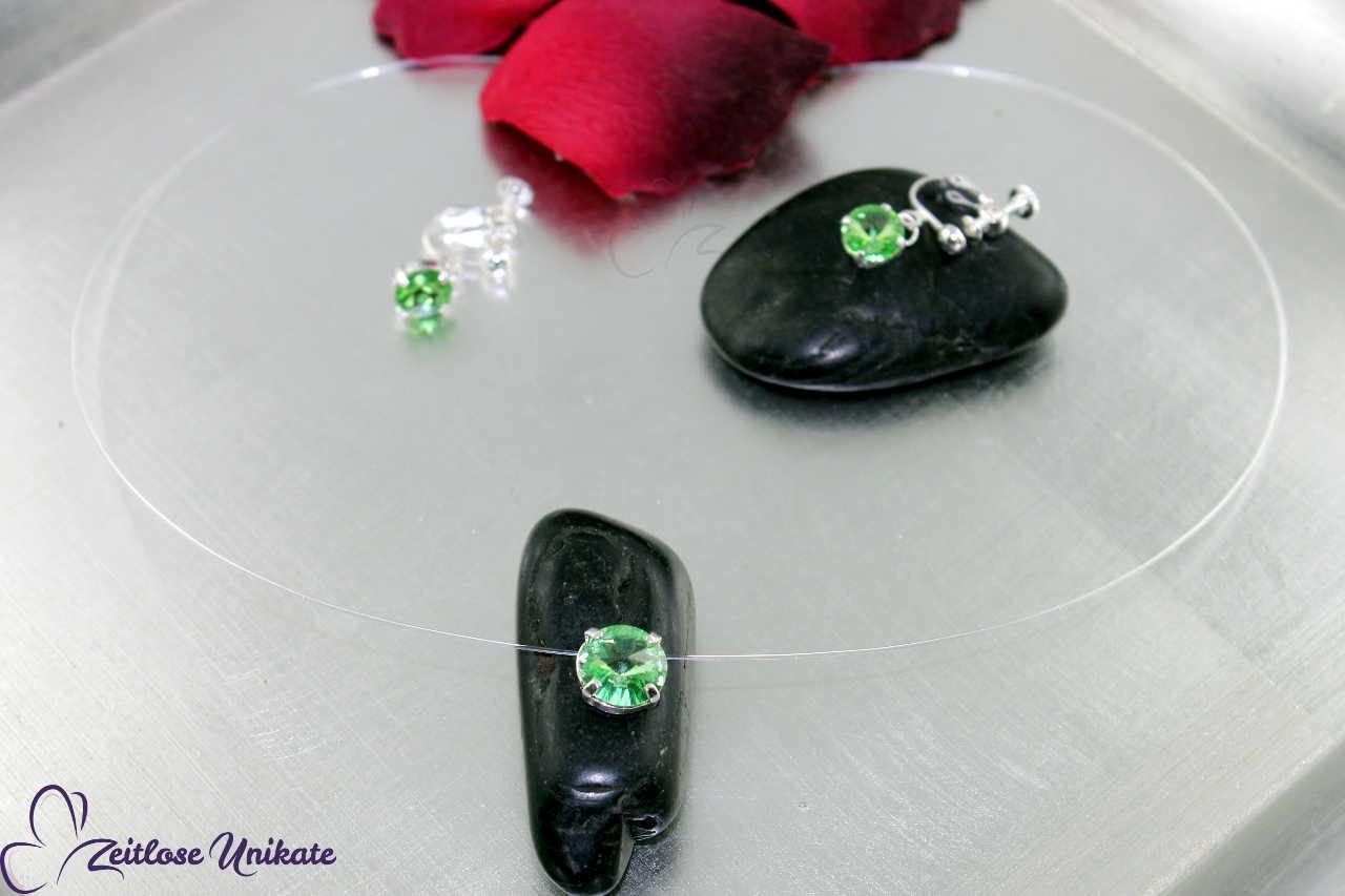 transparente Halskette peridotfarben, weitere Farben möglich