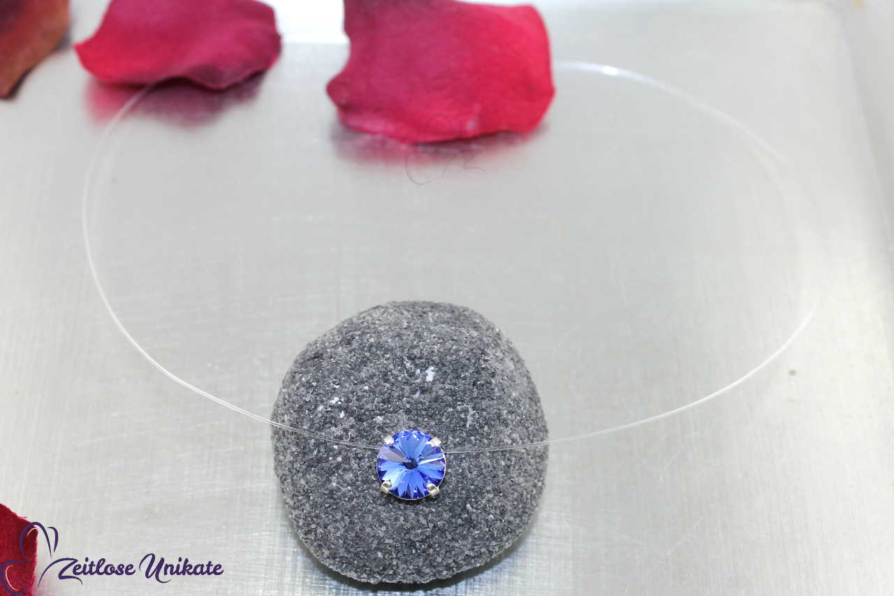 transparente Kette blau - sapphire