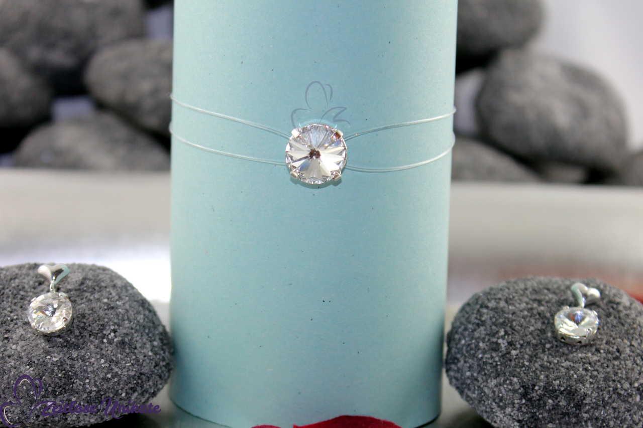 schwebender Stein Armband und Ohrringe