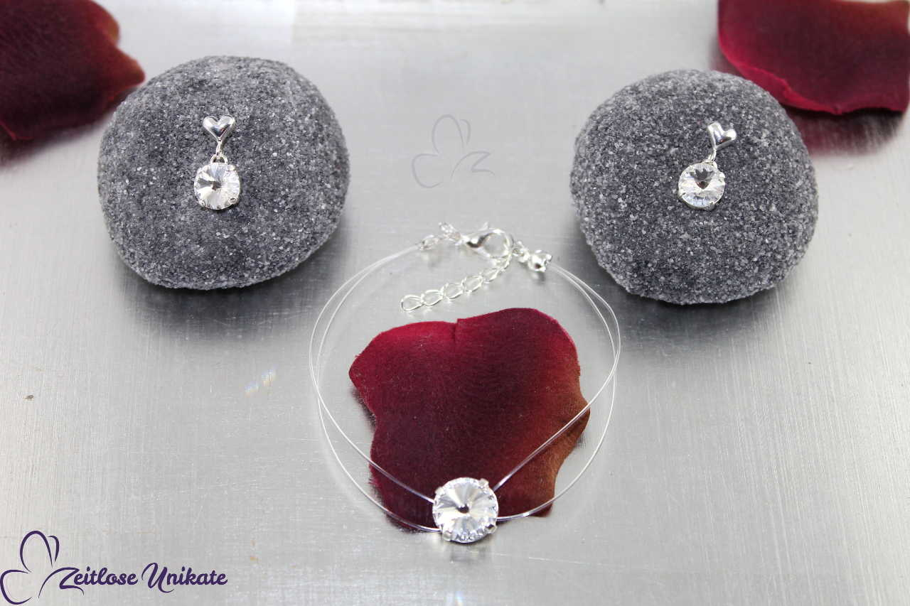 schwebender Schmuck - schwebender Stein Armband sowie passende Ohrringe zur Kette