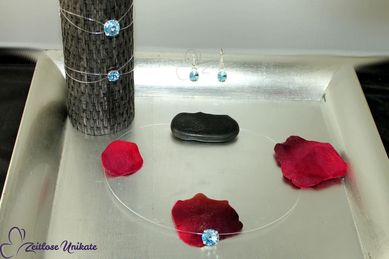 Schwebender Stein Kette, Armband und Ohrringe als Schmuckset in aqua