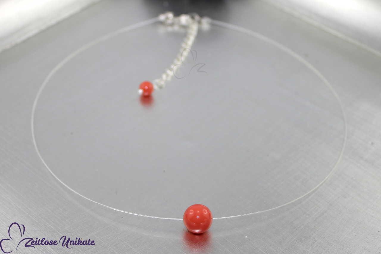 Korallenfarbene schwebende Perle, Kette