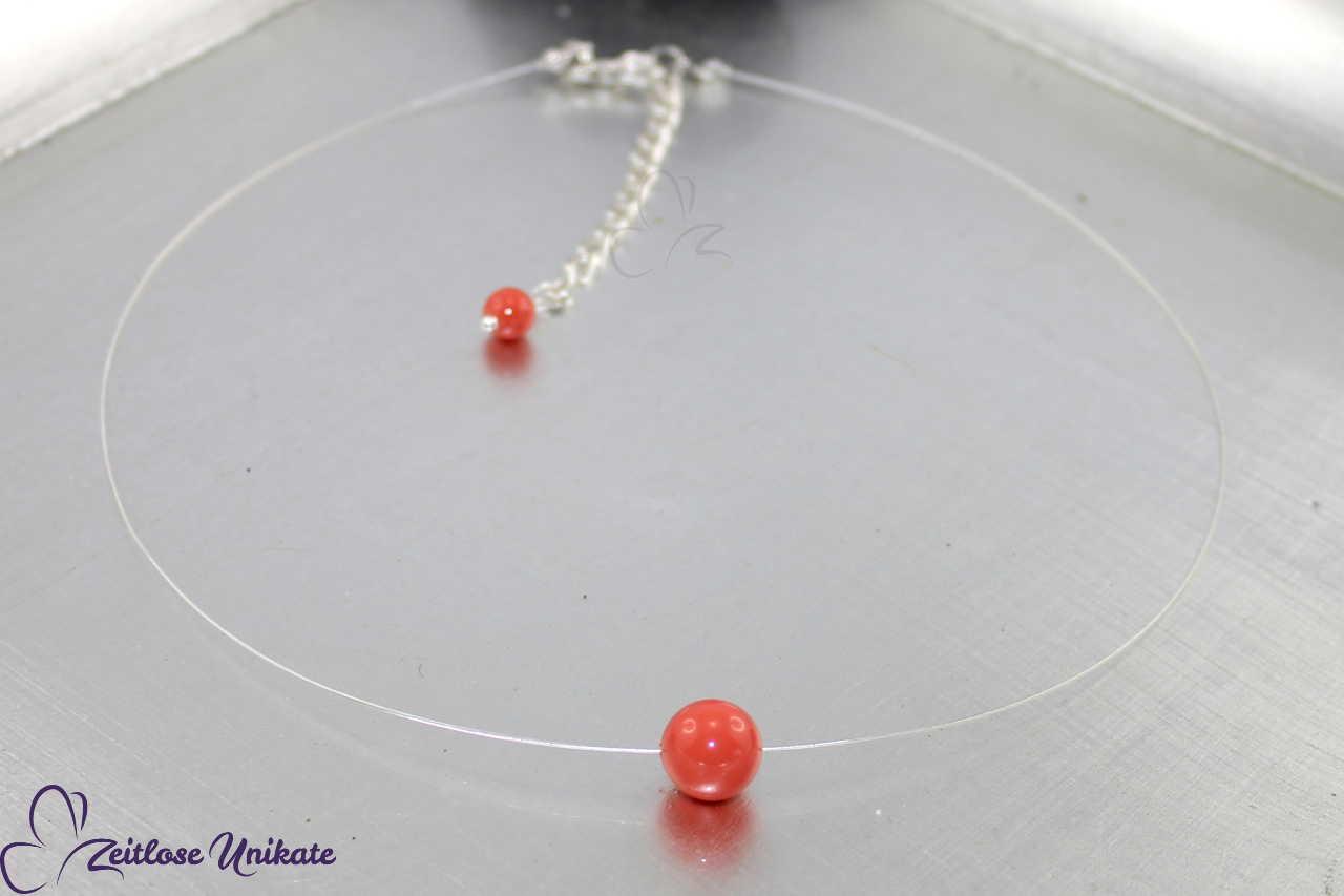 transparente Kette - schwebende Perle korallenfarben