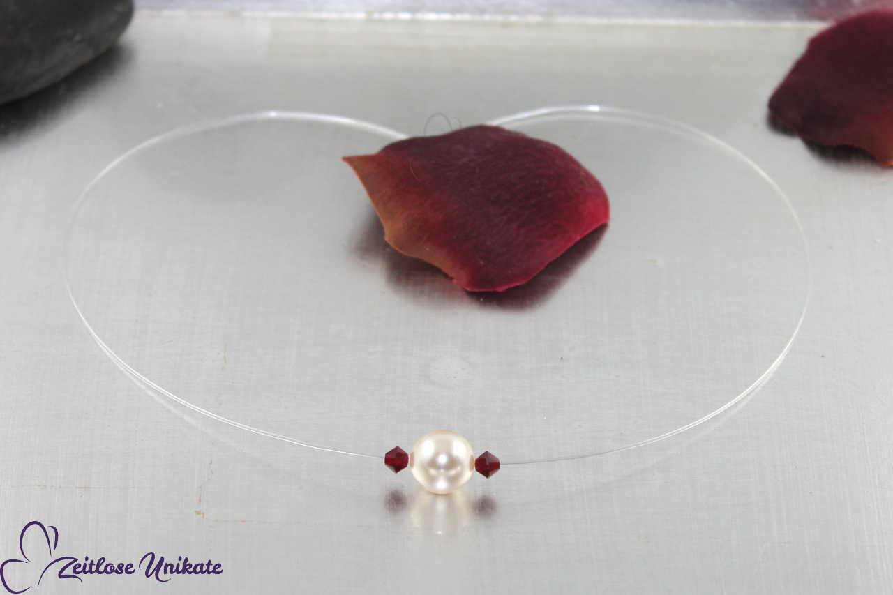 schlichte Kette einzelne Perle mit Kristalle, rot