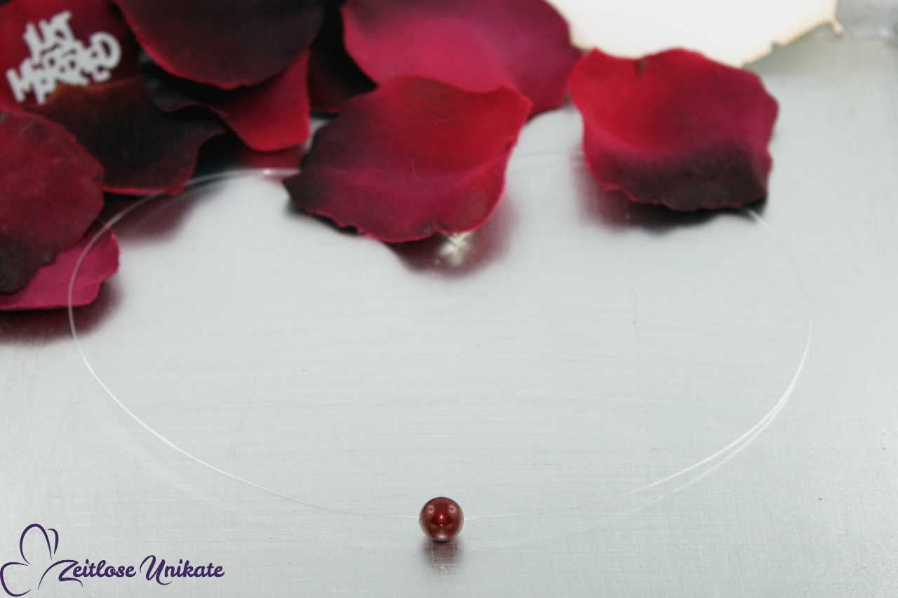 bordeauxfarbene schwebende Perle, Kette