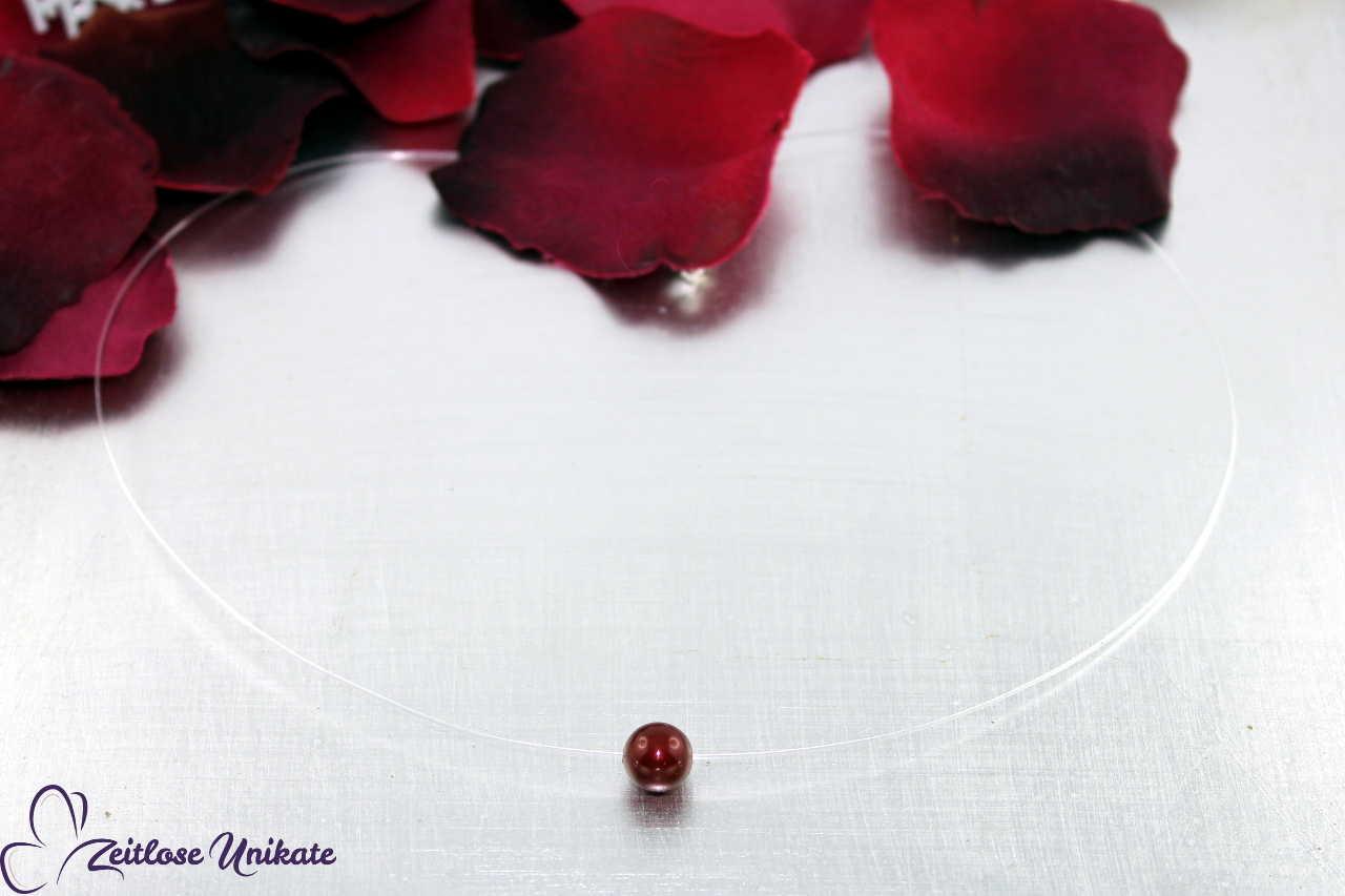 transparente Kette - schwebende Perle bordeaux