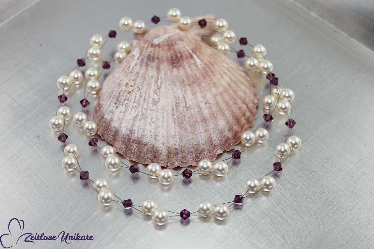 amethystfarbene Kristalle, elegante Perlen Kette
