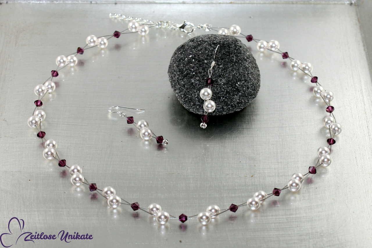 luftiges Brautschmuckset Ohrringe Kette lila