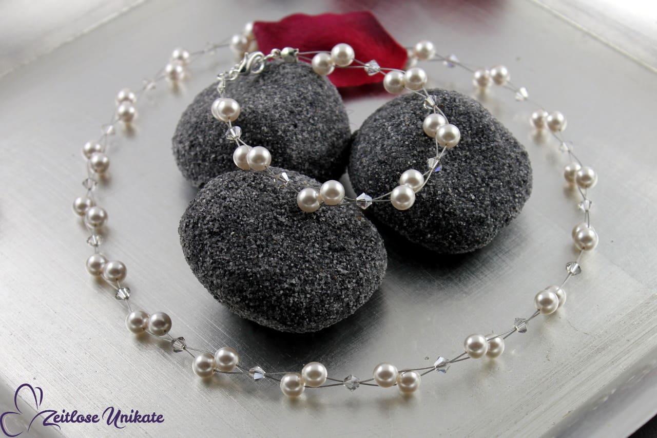 luftiges Brautschmuckset Perlen
