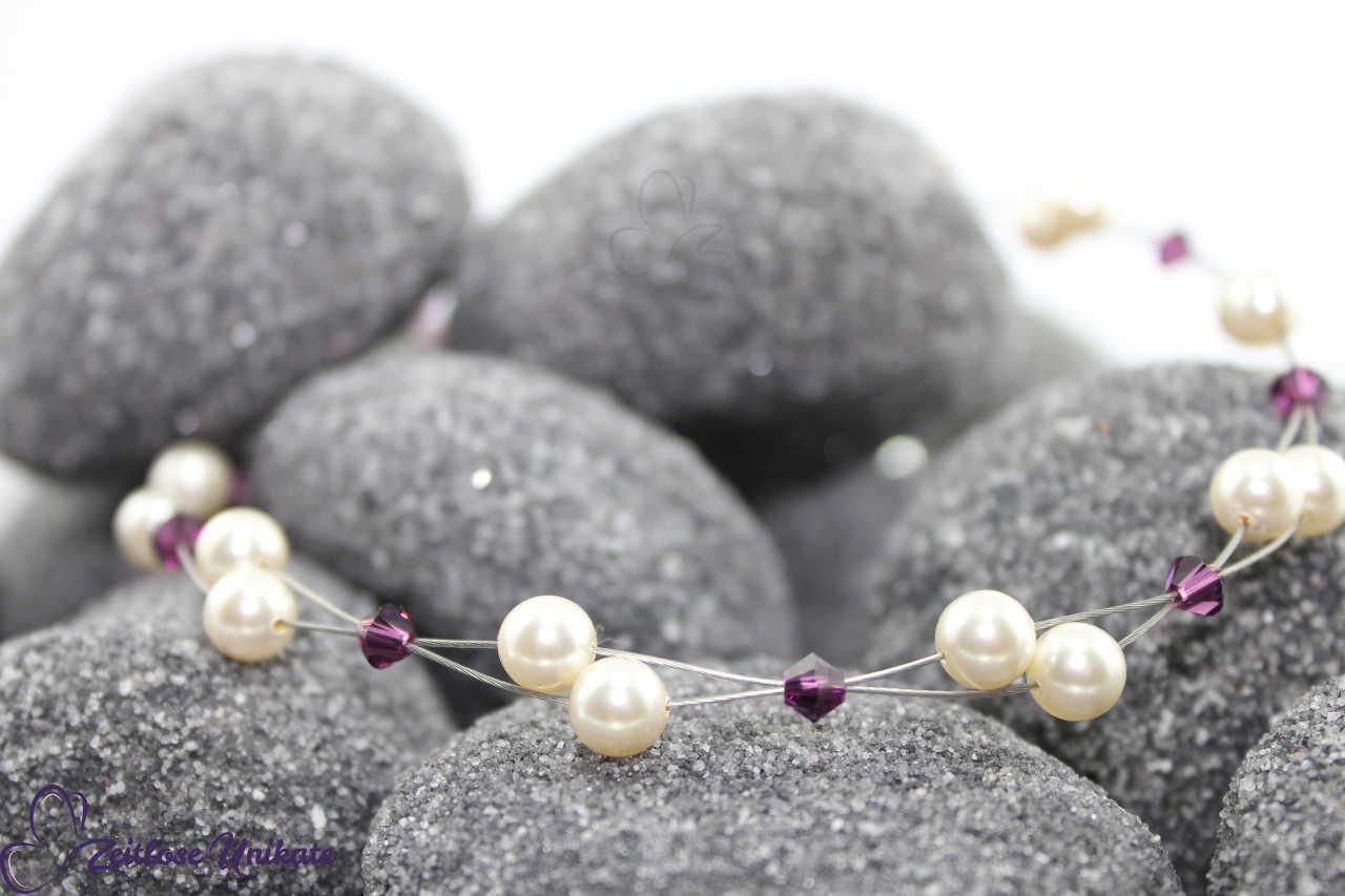 zweireihige luftige Perlenkette, Brautschmuck lila