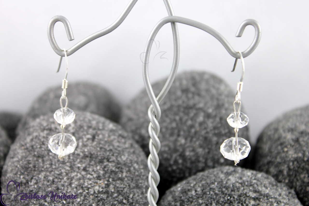 transparente Rondelle, Brautohrringe ohne 3 mm Perle