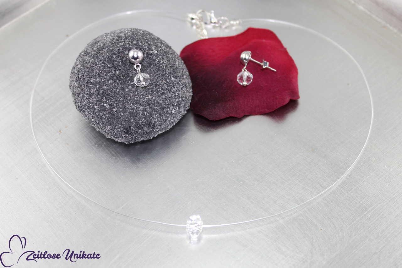 Kette schwebender Glasstein, transparente Halskette