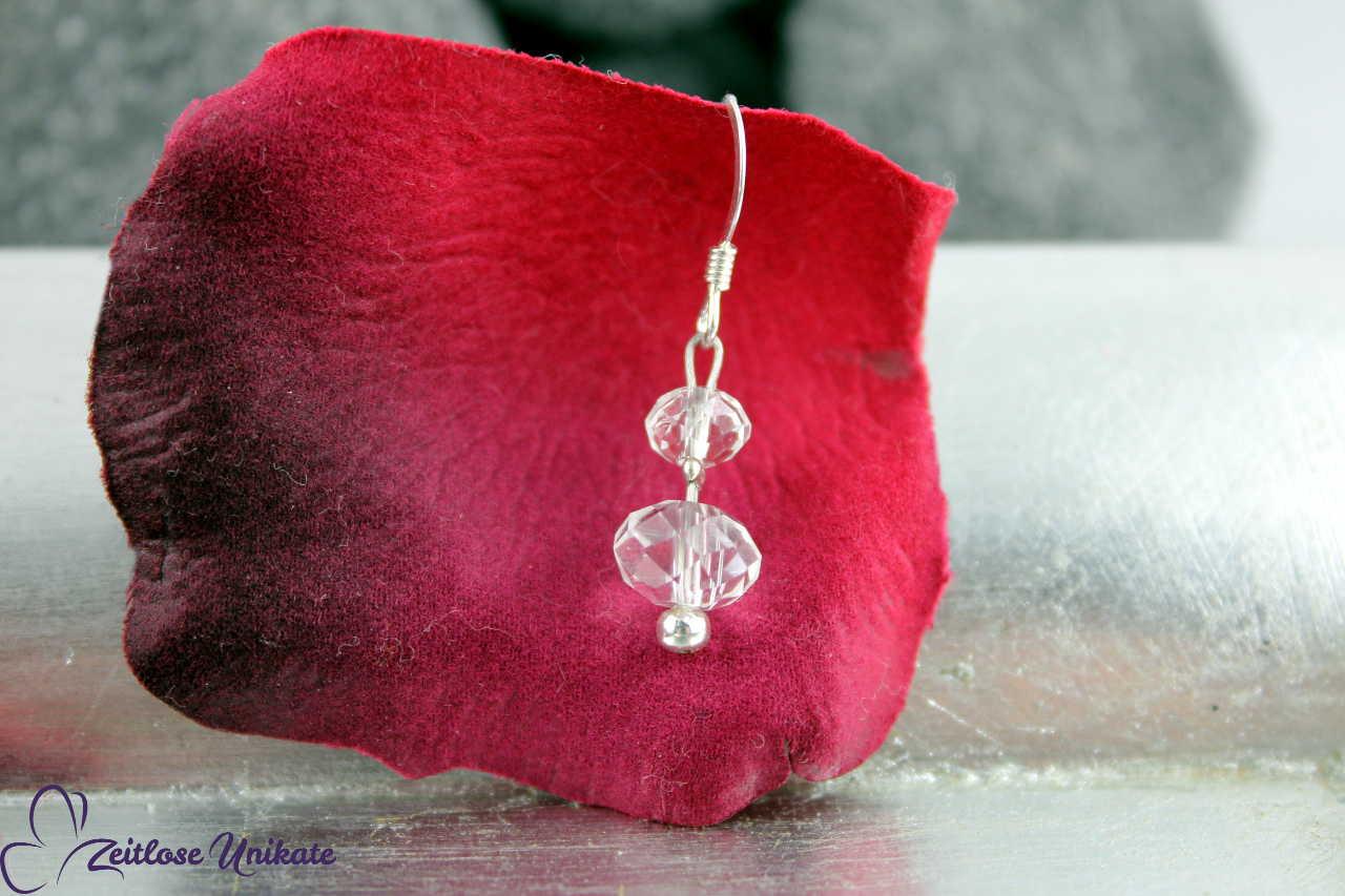 Brautschmuck, Ohrringe transparent und elegant, mit 3 mm Perle