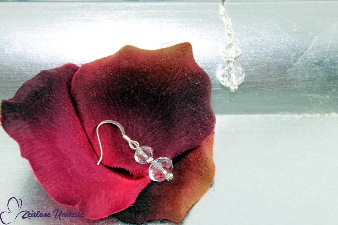 minimalistische, transparente Ohrringe ohne 3 mm Perle