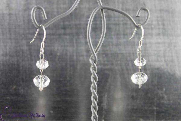 schlichte, transparente Ohrhänger, Braut ohne 3 mm Perle