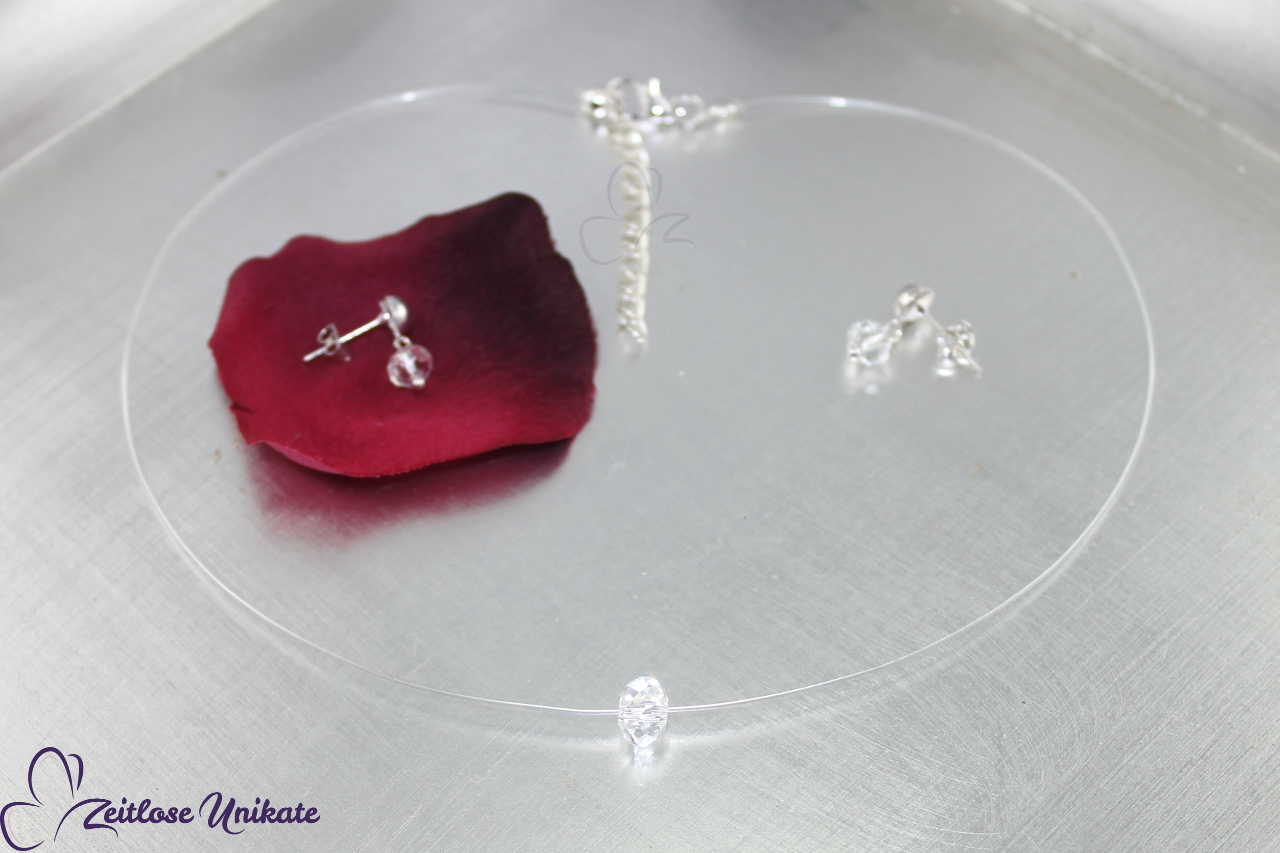 Brautkette - schwebender Stein, transparente Halskette