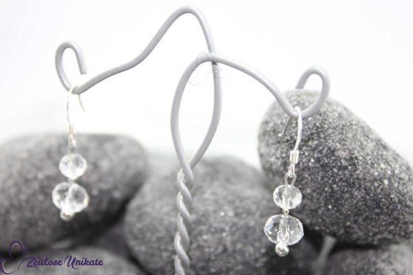 transparente, schlichte Ohrhänger Braut mit 3 mm Perle