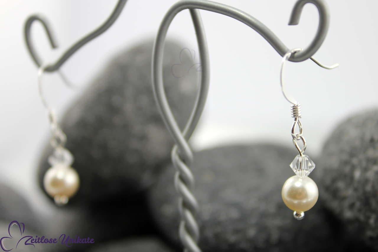 schlicht, Ohrhänger, Ohrringe für die Braut mit Kristallperle