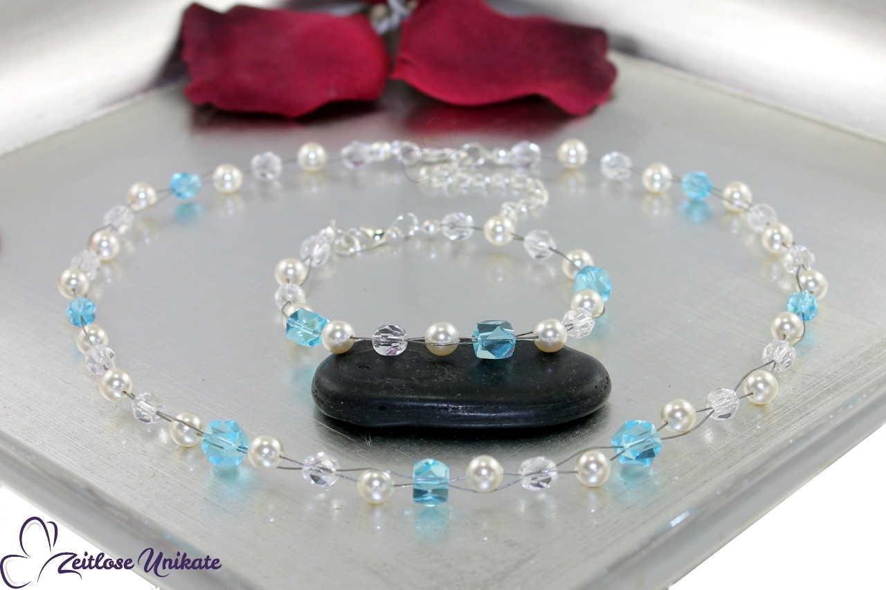 Braut Perlenkette mit Etwas Blaues - Brauch zur Hochzeit