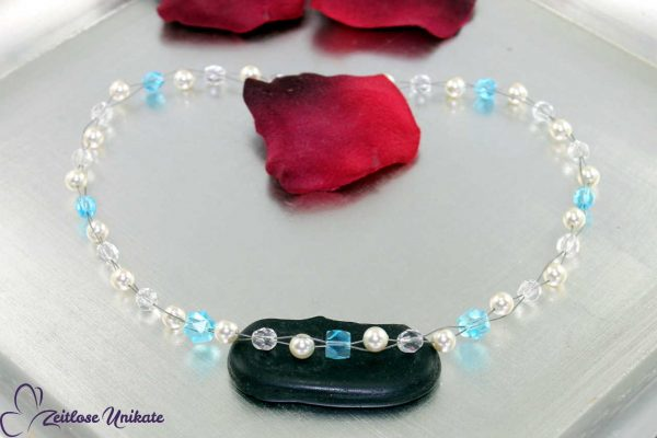 Hochzeitskette mit blauen Perlen, schick
