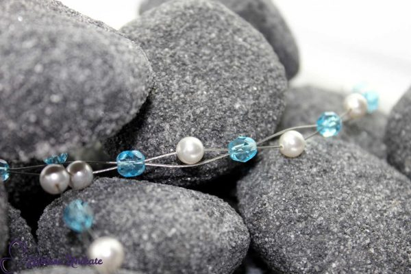 Kopfschmuck Haardraht blaue Perlen
