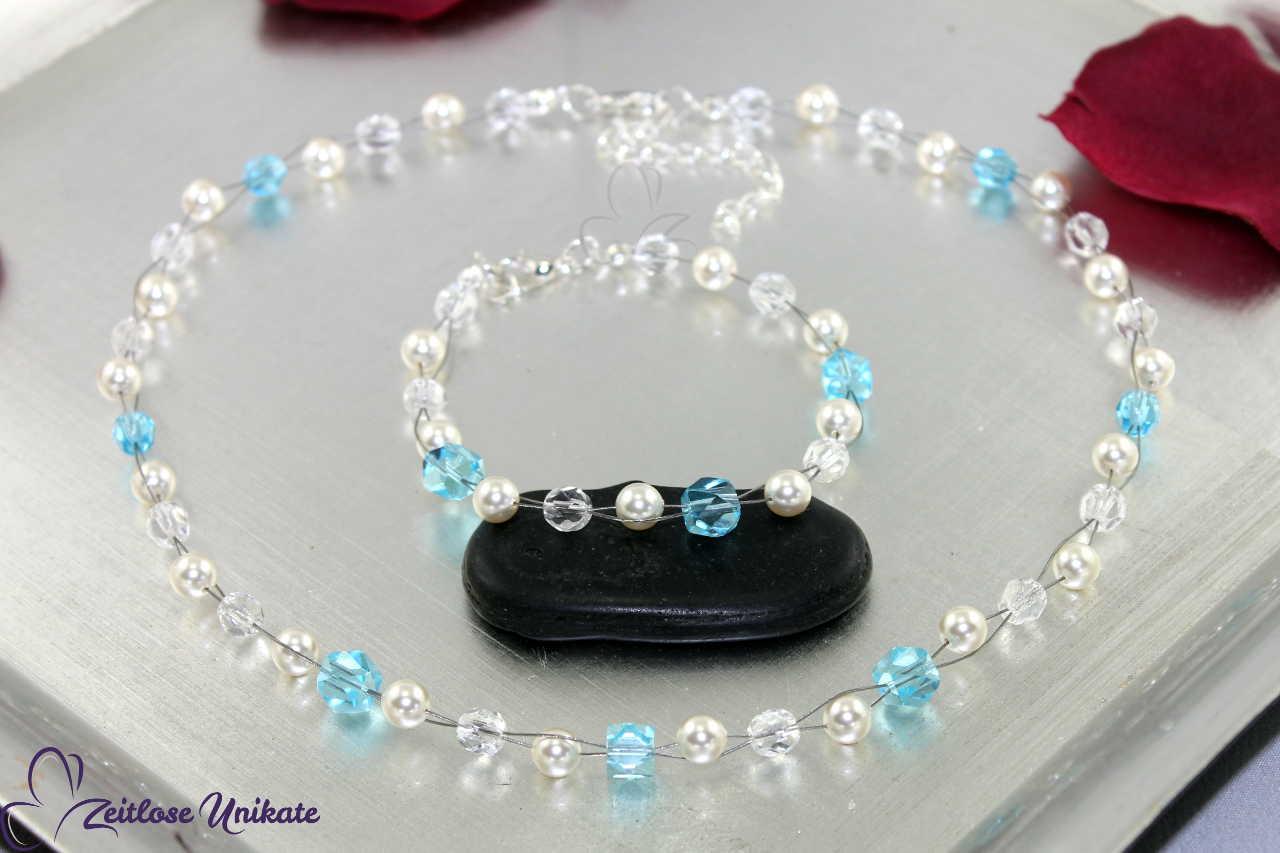 zauberhaftes Brautset, Schmuck blaue Perlen