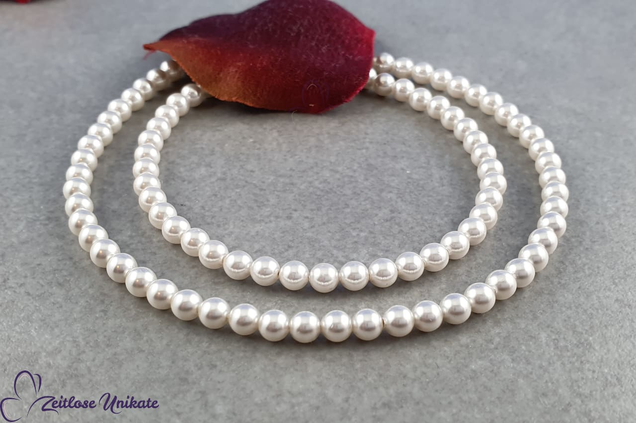 zierlich zarter Perlenhalsschmuck, Brautkette schlicht
