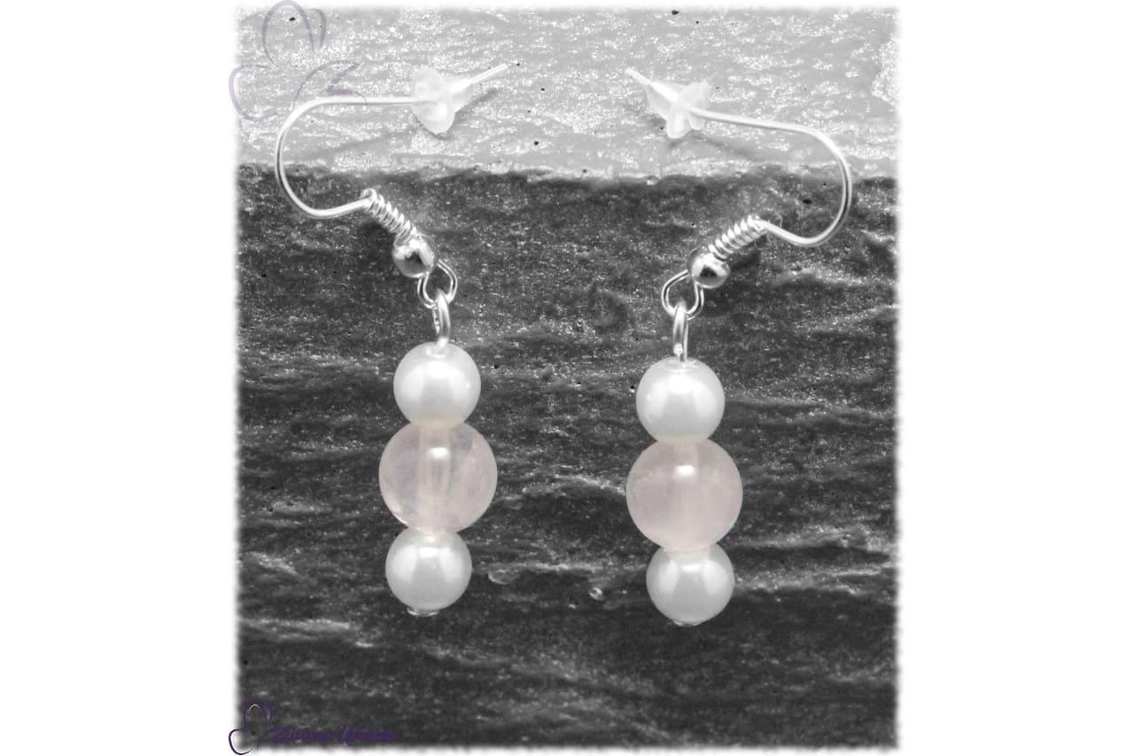 8 mm Rosenquarz Perle Ohrringe schön schlicht