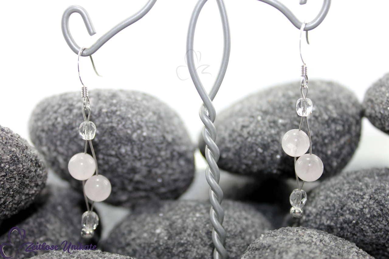 Ohrhänger mit Rosenquarz Perlen für die Braut