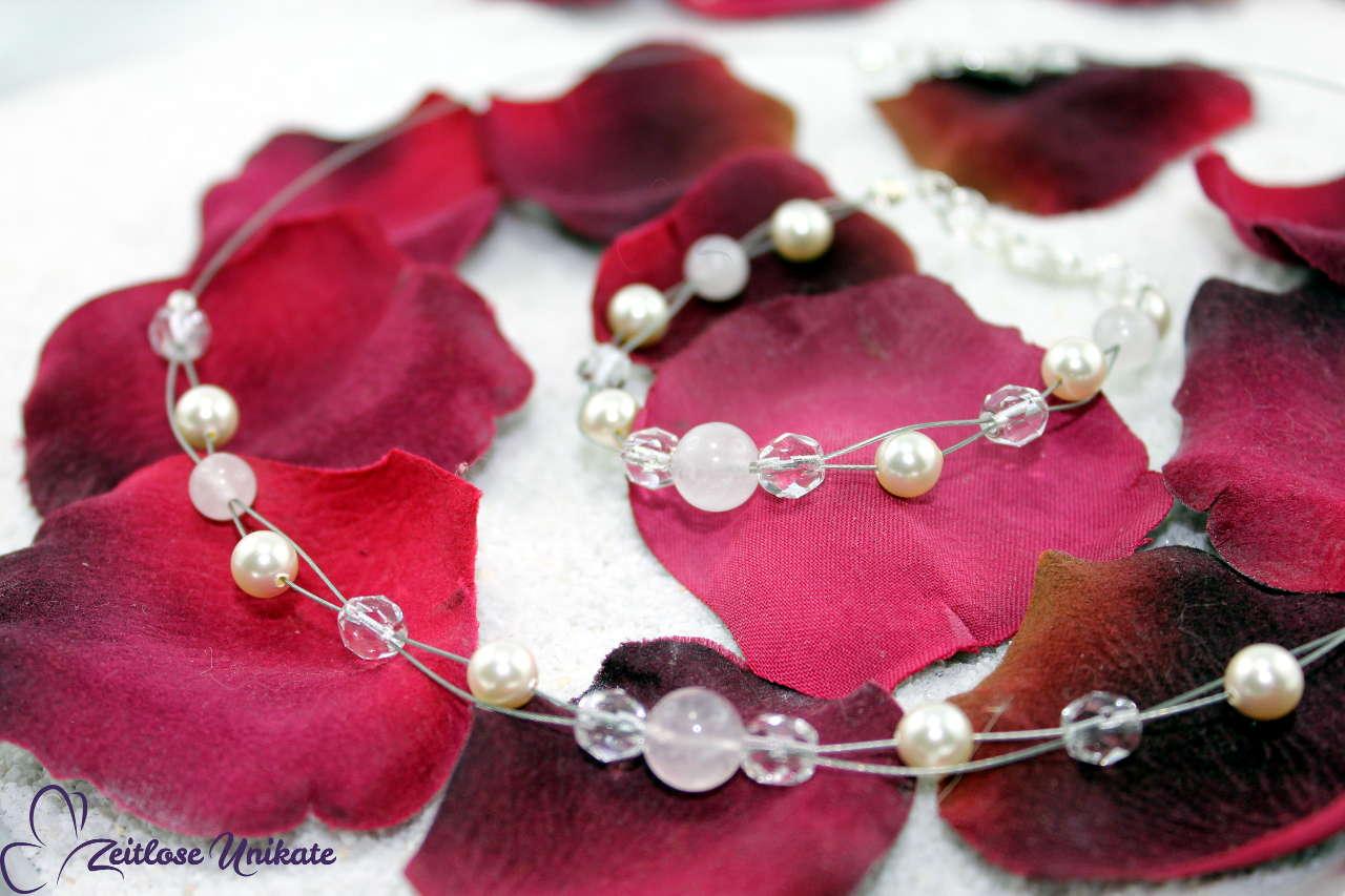 Hochzeitskette mit Rosenquarzperlen