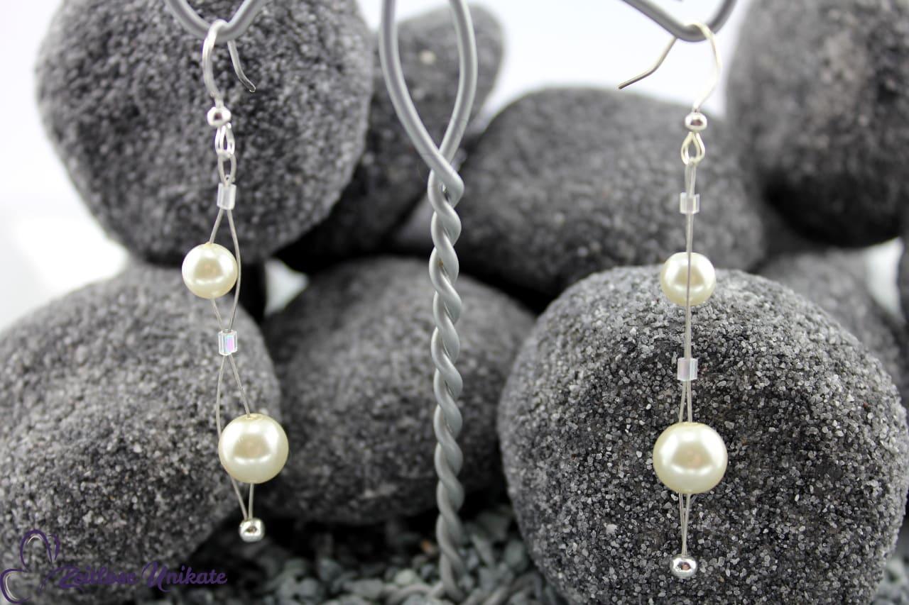 kürzere Variante Ohrhänger Braut, Perlen