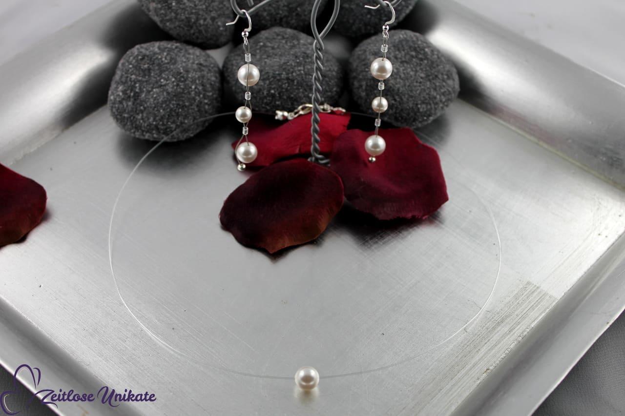 lange filigrane Ohrringe mit Brautkette eine Perle