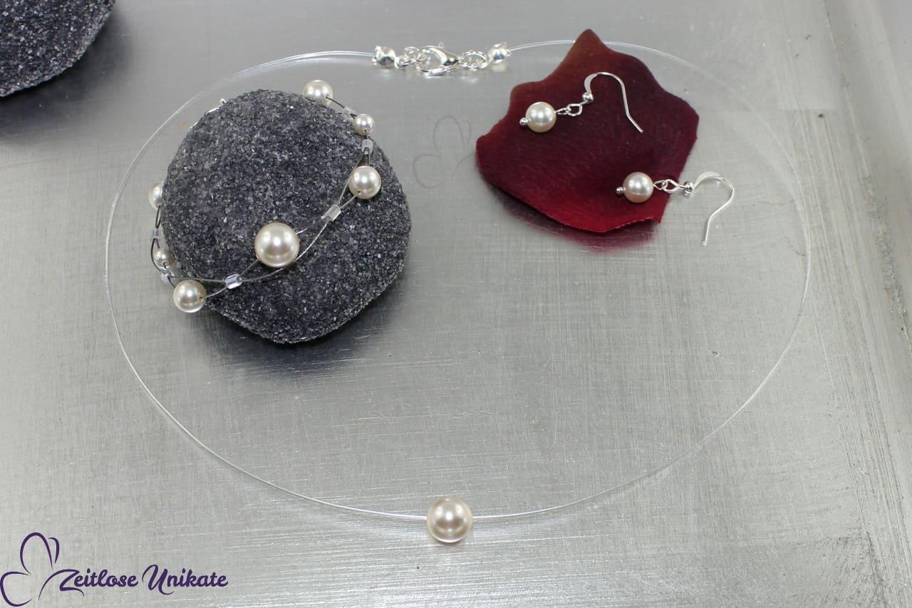 schlichtes Schmuckset mit Armband, Kette und Ohrringe, Braut