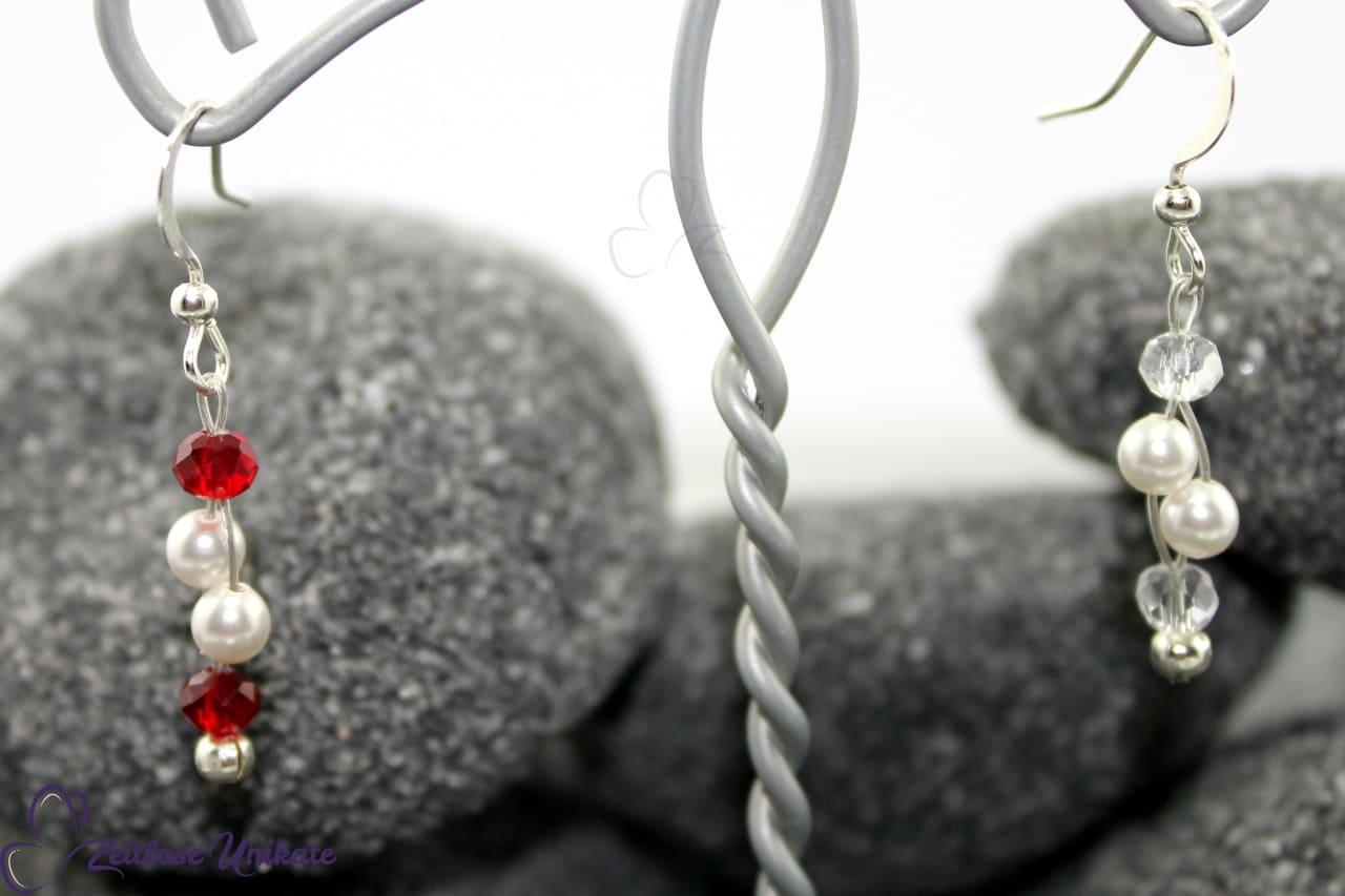 rot wie die Liebe - Brautohrringe Perlen - Farbe