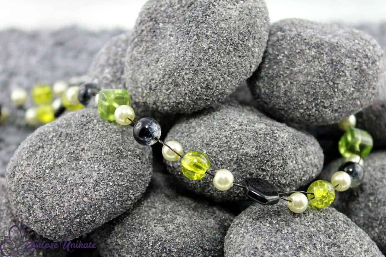 Retro Kette schwarz grün & peridot