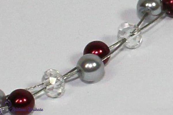 Wunderschöne glitzernde Perlen, Brautschmuck bordeaux - grau
