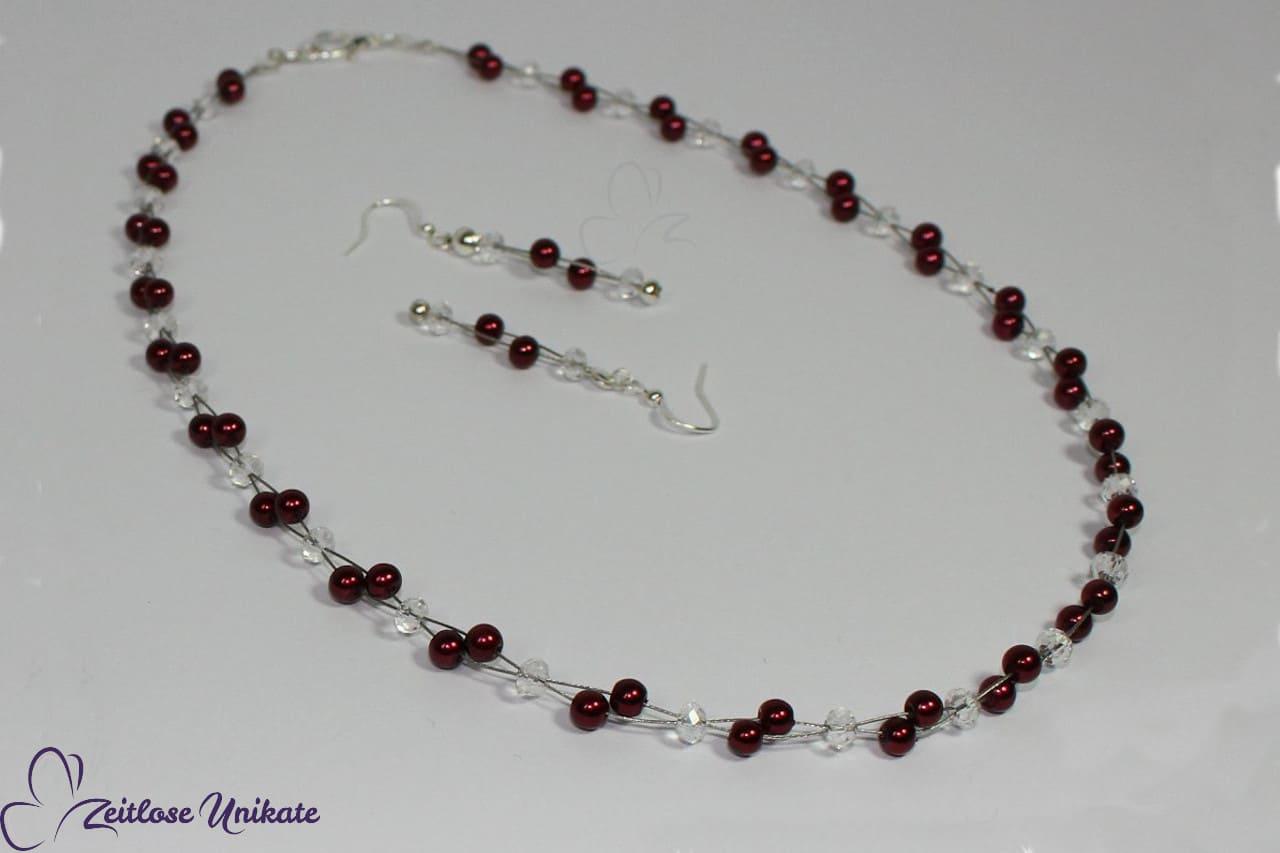 Wunderschöner Brautschmuck, Set Bordeauxfarbene Perlen