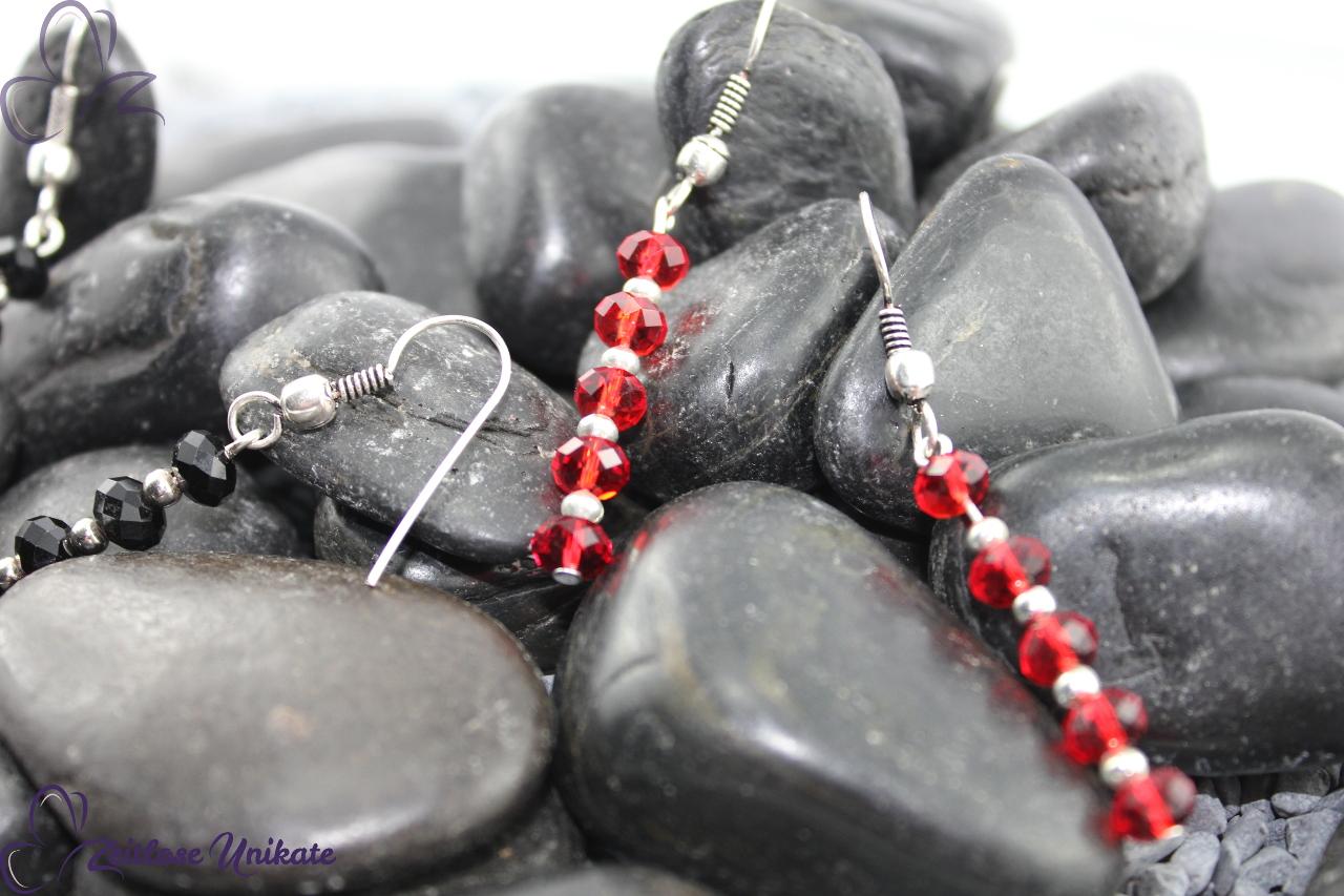 festliche Ohrringe in rot / silber, Schmuck zu Weihnachten