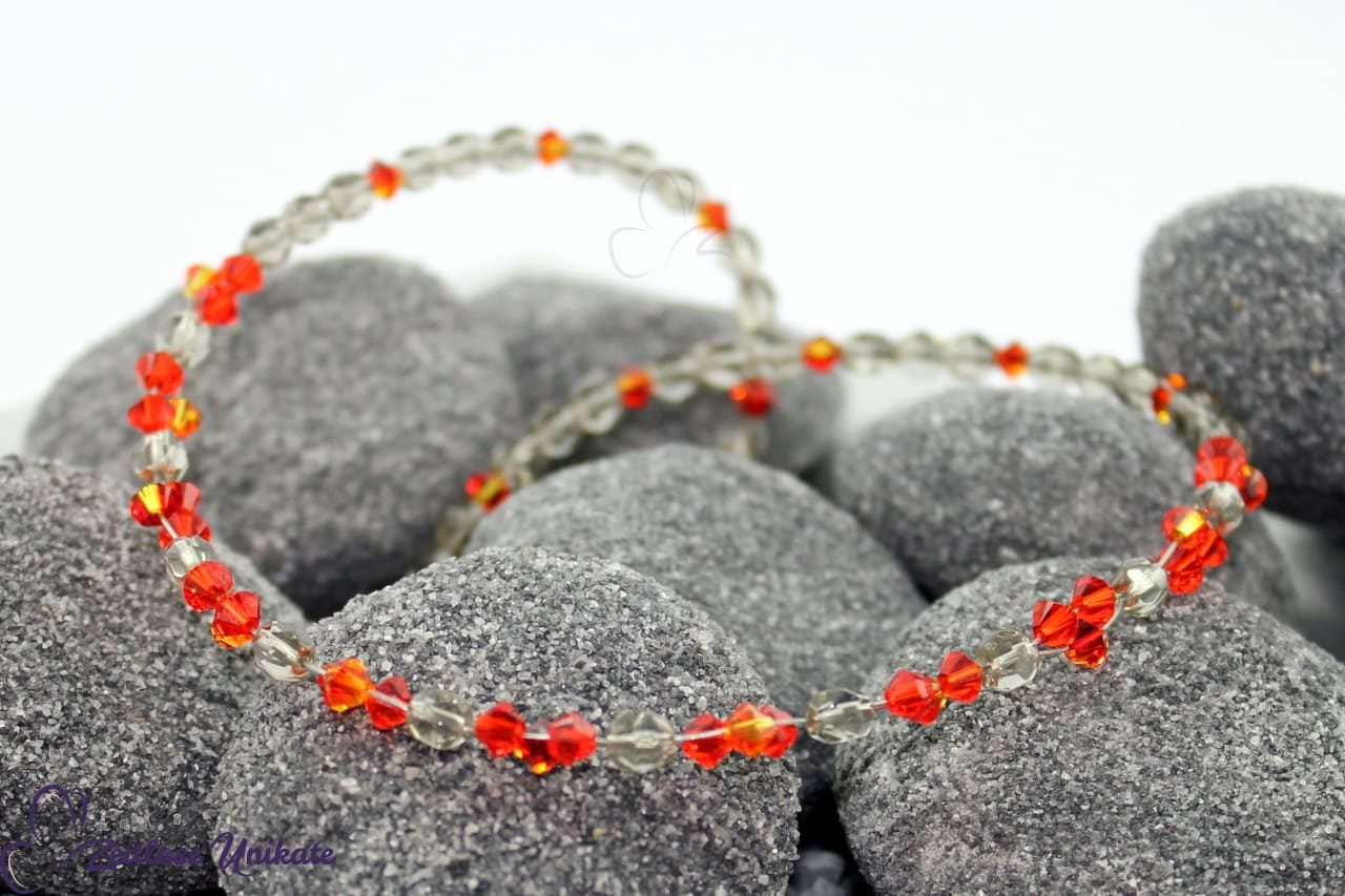 orange rot grau einmalige, handgefertigte Halskette